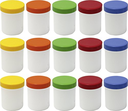 15 Salbendöschen, Creme-döschen, Salbenkruke hoch, 60ml Inhalt mit farbigen Deckeln - MADE IN GERMANY