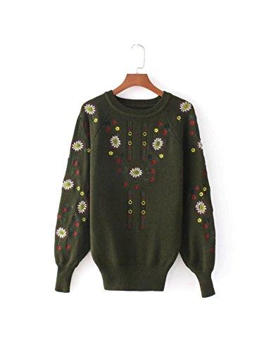 HUA&X Tricot femme col rond Pull Baggy Haut Cavalier chandail tricoté Military Green