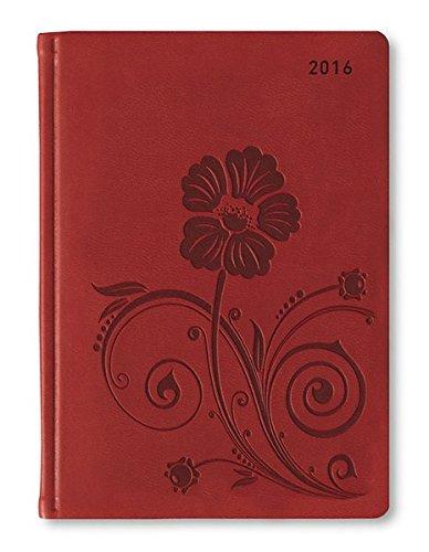 Ladytimer Grande Deluxe Red 2016 - Taschenplaner / Taschenkalender A5 - Tucson Einband - Motivprägung Floral - Weekly - 128 Seiten