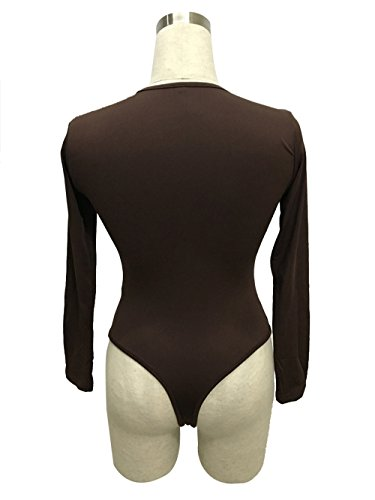 DaBag-Damen Rundkragen Modische Langarm Stretch Triangle Jumpsuit Volltonfarbe Overall Braun