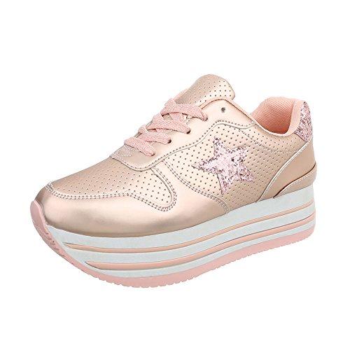Ital-Design Sneakers Low Damen-Schuhe Schnürsenkel Freizeitschuhe Rosa Gold, Gr 37, 3084-