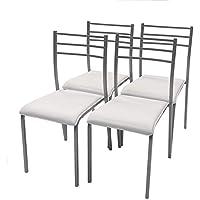 Homely Pack de 4 sillas de Cocina Paris con Estructura de Metal y Asiento en PVC (Gris-Blanco)