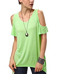 Urban GoCo Mujeres Casual Tallas Grandes Camiseta Slim Fit V Cuello Off Shoulder Túnica Tops