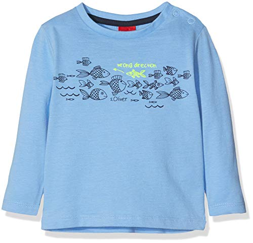 s.Oliver Baby-Jungen 65.903.31.8571 Langarmshirt Blau (Blue 5313), Herstellergröße: 80