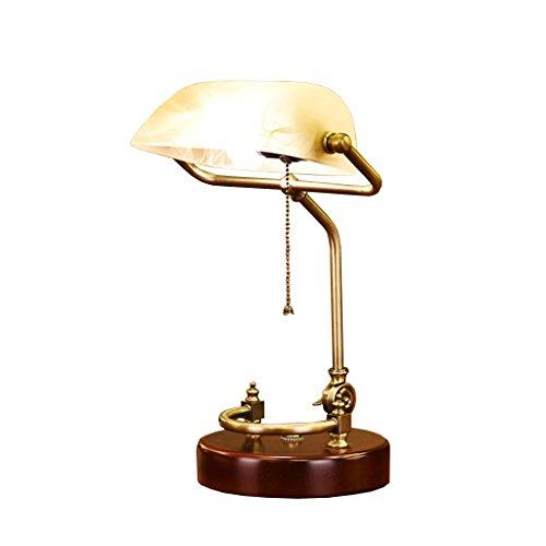 Lámpara de escritorio de la protección de ojo del vintage, estilo retro europeo Lámpara de mesa de cristal de la lámpara de mesa de cristal verde esmeralda antiguo Lámpara de escritorio de madera maciza para banco ejecutivo / dormitorio / sala de estar /