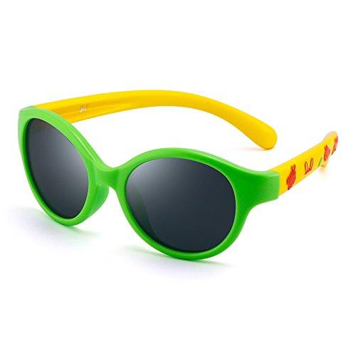 Kinder Rund Gummi Polarisiert Sonnenbrille Niedlich Schatten Mädchen Jungen 3 bis 12(Grün/Polarisiertes Grau)