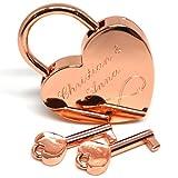 Liebesschloss Herzschloss rose gold mit 2 Schlüssel graviert