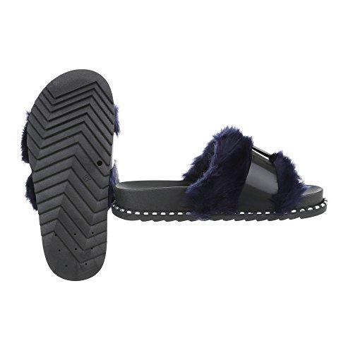 Pantoletten Damenschuhe Pantoletten Pantoletten Ital-Design Sandalen & Sandaletten Schwarz Blau 838