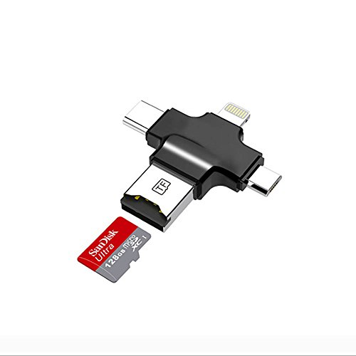 Typ C Kabel Card Reader 4 in 1 mit USB 3.0 Stick Micro SD Kartenleser Typ C Lightning Connector für iPhone/iPad/Mac/PC/Android Phone