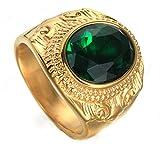 Mailizhong Herren Ringe Einzigartig 18k Jin Xiangyun Rostfrei Stehlen Ringe Green,Größe 62 (19.7)