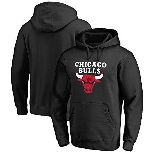 Bulls Sweater Mit Kapuze Frühling Und Herbst Plus Studentenshirt Aus Samt Basketball-Trainingsanzug,Black-XL (Jungen Samt-blazer Für)