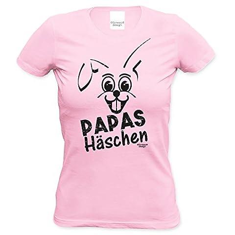 Ostergeschenk Frauen T-Shirt Osterhase Geschenkidee zu Ostern Papas Häschen Osterfest, Geburtstag Rundhalsausschnitt Farbe: rosa Gr: S