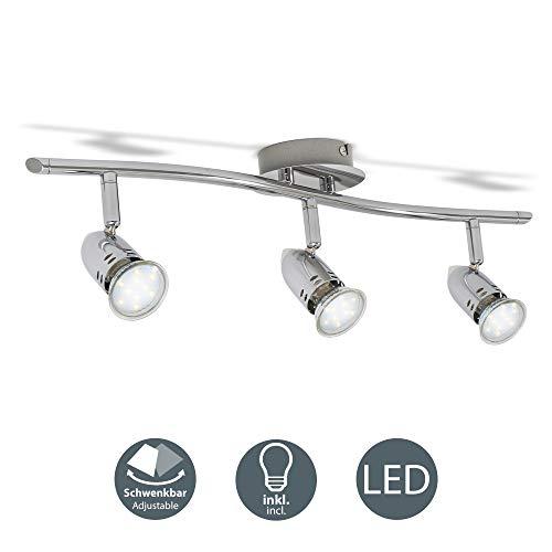 Faretti led da soffitto orientabili, plafoniera led, include 3 lampadine gu10 da 3w 250lm, luce calda 3000k, lampadario moderno in metallo cromato per cucina o camera da letto, 230v, ip20