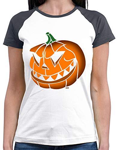 HARIZ  Damen Baseball Shirt Halloween Kürbis Halloween Kostüm Horror Umhang Plus Geschenkkarten White/Navy M