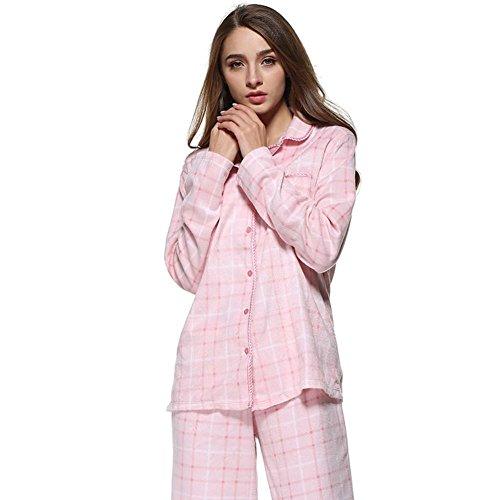 DMMSS Women 'S Herbst Und Winter Schlafanzug Anzug Samt Druck Bademantel 2 - Stück Sätze Lang - Sleeved Revers Kleidung m