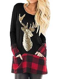 TIFIY Weihnachtsbluse, Damen Weihnachten Rentier Print Sweatshirt Plaid Splice Lange Bluse Festliche Neuheit Sweatshirt Weihnachten Casual Pullover