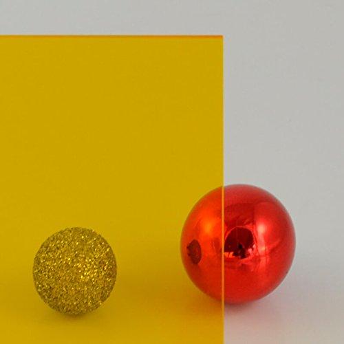 3 mm PLEXIGLAS® gelb 1C33 GT, transparent mit einer Lichtdurchlässigkeit von 63% - hohe Lichtdurchlässigkeit - Maße: 50x50x0,3 cm