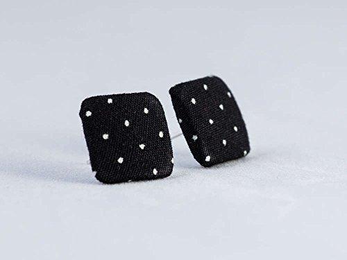 schwarz weiß Punkte Ohrstecker - quadratisch 15mm - Stoffohrstecker - Stoff Ohrstecker Ohrringe MotleyBees -