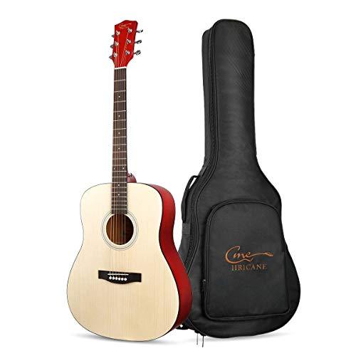 Hricane Gitarren, 41 Zoll Full Size Anfänger-Akustikgitarre, GU-2 Cutaway Fichte Stahlsaite Akustische Gitarre mit Gitarren-Paket (Dreadnought) -