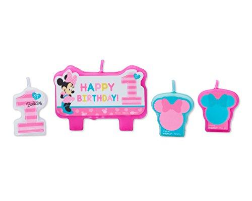 Amscan International Amscan 171834 Kerzenset, Micky und Minnie 1. Geburtstag, 4 Stück