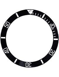 Sonew Cerámica Reloj Bisel Insertar números marcadores Reloj de Pulsera reemplazo del Lazo clásico Anillo Pulsera(Black)