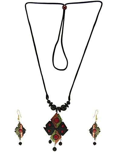 Womens Trendz Handmade Multi Colour Designer Terracotta Necklace and Earring Set for Womens/ Girls  available at amazon for Rs.625