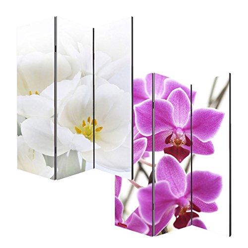 Mendler Foto-Paravent Paravent Raumteiler Trennwand M68~180x120cm, Orchidee