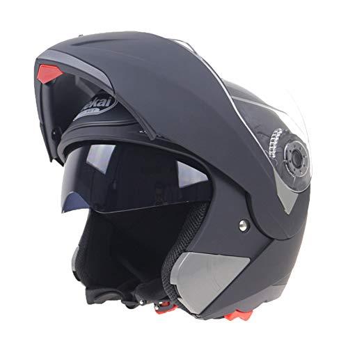 SK Studio Unisex Casco da Moto integrale Scooter Modulare Flip-Up motocicletta Casco Jet con Doppia Visiera Apribili e modu