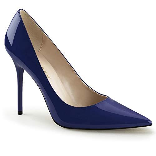 Pleaser CLASSIQUE-20 Damen Stiletto Pumps, Lack Navy Blau, EU 46 (US 15) Pleaser Stiletto