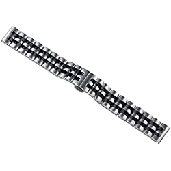 24mm Men's Premium Two Tone Silver/Black Stainless Steel Watch Bracelets Wide Metal Straps for High-end Wristwatches