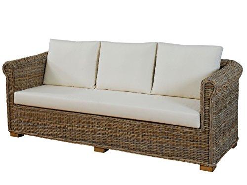 Wohnzimmer-Sofa 'Nizza' aus echtem, ungeschältem Rattan / 3-Sitzer Lounge-Sofa mit Polster (Natur-Grau)