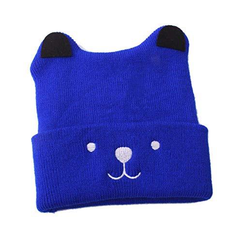 Y56 Winter Warm Crochet Strickmütze Beanie Cap Neugeborenes Kleinkind Kinder Mädchen Jungen Baby Cartoon Bär Hut Kappen Häkelstrick Wintermütze (Blau)