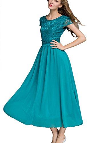 Élégante dentelle de la femme brodée Maxi robe Swing green