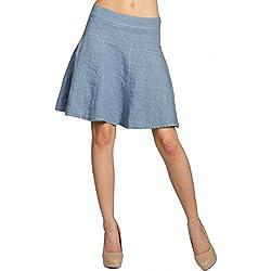 Caspar RO013 Falda Corta para Mujer de Lino Ideal para el Verano, Color:Azul Vaquero;Talla:36 S UK8 US6