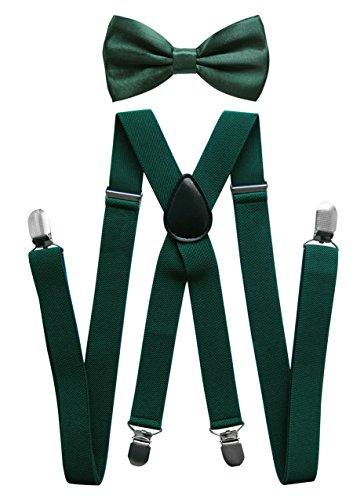 ger mit Fliege - 4 Starken Clips X-Form (Grün (Hosenträger Breit 2,5cm)) (Grüner Mann Anzüge)