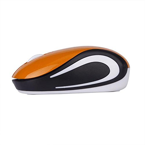 Wireless Mäuse für PC Laptop Notebook Maus Nette Mini 2.4GHz Aufladung Funkmaus Wireless Optical Mouse mit USB Empfänger (M,Orange)