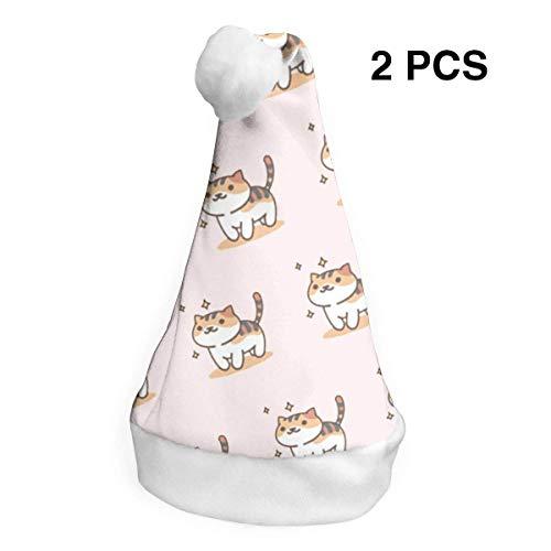 (Weihnachtsmannmütze, fette Katzen, Frohe Weihnachten, für Erwachsene, Kinder, Kostüm, Weihnachtsdekoration, Party-Zubehör (2 Stück))