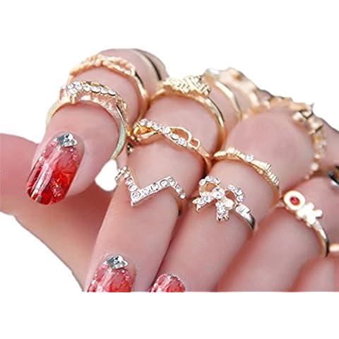 7pcs Mujer Rhinestone Bowknot Midi de nudillos Mid punta de dedo anillos de apilamiento juego