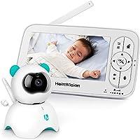 Baby Monitor con LCD Schermo da 5 Pollici, Telecamera da Interno con Sensore di Temperatura e VOX, Videosorveglianza Senza Fili con Ninnananna, Audio Bidirezionale, Visione Notturna - Bianco
