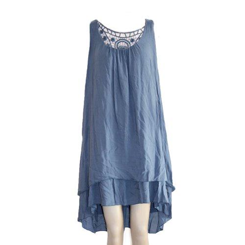 Waooh - Stickerei Yoke Kleid Sybile Blau