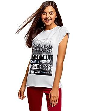 oodji Ultra Mujer Camiseta con Estampado y Borde Inferior No Elaborado