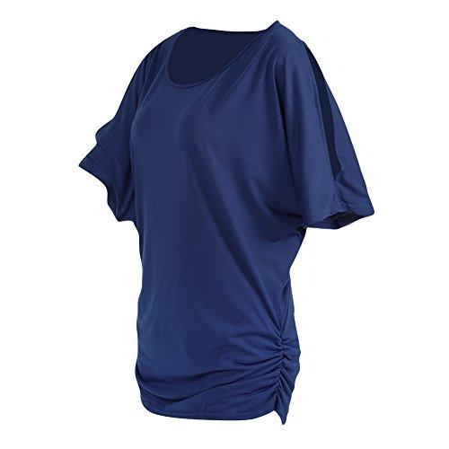 iBaste Damen Oberteil Festlich T-Shirts Bluse Elegant Shirt Kurzarm Große Größen Blau(Schulterfrei)