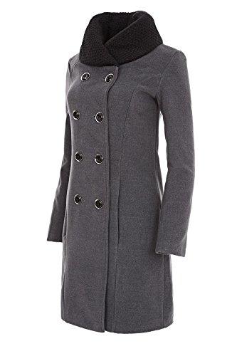 Laeticia Dreams Damen Winter Mantel Jacket Stehkragen XS S M L XL, Farbe:Grau;Größe:36 Herbst Winter Mantel