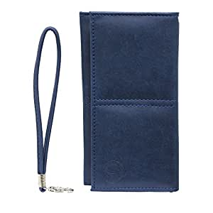 Jo Jo A5 Nillofer Leather Wallet Universal Pouch Cover Case For Fly Mobile SX243n Dark Blue