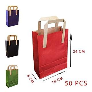 Asiam Impex Sarl Papiertasche, Flacher Griff, 18 x 8 x 24 – 70 g/m², 50 Stück – Braun – Bedruckt in Verschiedenen Farben –%100 recycelbar Rot