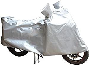 JMD Helmets Two Wheeler Body Cover with Mirror Pocket for Bike and Scooty (100 CC to 125 CC) (Silver, L)