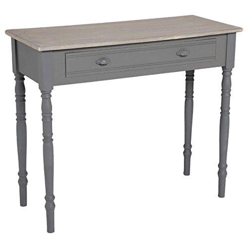 Atmosphera – Mueble Consola mesa de madera con 1 cajón - Color GRIS - Estilo Romántico