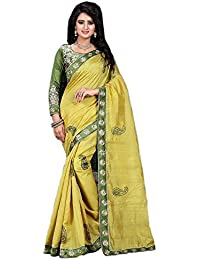 Macube Women's Bhagalpuri Silk Embroidered Saree With Blouse Piece - MS55_01_Green_Free Size