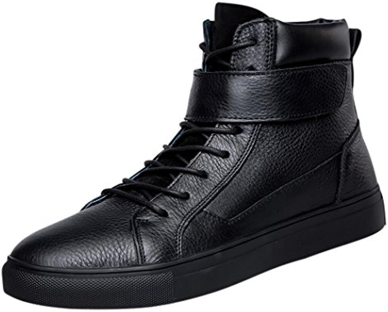 Pik  Clubs Herren Echt Leder Freizeit Fashion High Top Klettverschluss Flache Schnürschuhe Stiefel kurz  für