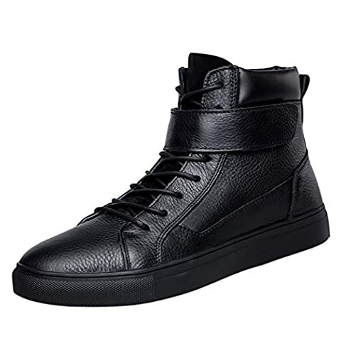 Spades & Clubs Mens Genuine Leather Leisure Fashion High Top Velcro Lace Up Flat Short Boot for Four Seasons Size 11 UK Black